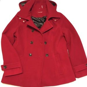 Calvin Klein Red Pea Coat with Hood